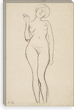 Stehender Frauenakt von vorne mit erhobenem rechtem Arm (Standing Femal Nude With Raised Right Arm) By Gustav Klimt Canvas Print #14047