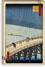 Sudden Shower Over Shin-Ohashi Bridge and Atake, 1857 By Utagawa Hiroshige l Canvas Print #13658