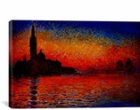 Sunset in Venice By Claude Monet Canvas Print #302