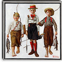 The Catch By Norman Rockwell Canvas Print #13440