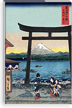 The Entrance Gate at Enoshima By Utagawa Hiroshige l Canvas Print #13622