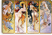 The Four Seasons (1895) By Alphonse Mucha Canvas Print #15185