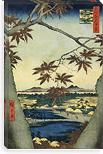 The Maple Leaves of Mama, Tekona Shrine and Tsugi Bridge By Utagawa Hiroshige l Canvas Print #13608