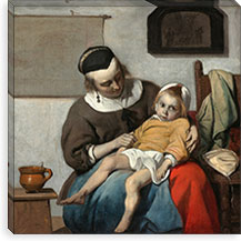 The Sick Child By Gabriel Metsu Canvas Print #14142