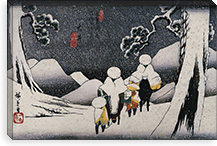 Travellers on Horseback in the Snow By Utagawa Hiroshige l Canvas Print #13662