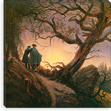 Two Men Contemplating the Moon By Caspar David Friedrich Canvas Print #15037