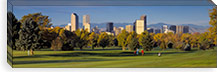 USA, Colorado, Denver, panoramic view of skyscrapers around a golf course #PIM4565