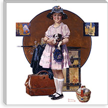Vacation's Over (Girl Returning From Summer Trip) By Norman Rockwell Canvas Print #13439