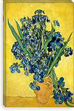 Vase With Irises Against a Yellow Background By Vincent van Gogh Canvas Print #14356