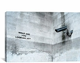 What Are You Looking At Security Camera By Banksy Canvas Print #2159