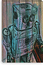 Wooden Robot Canvas Print #UVP64