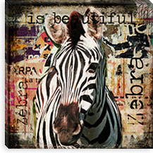 Zebra Torn Posters By Luz Graphics Canvas Print #LUZ2