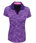 Adidas Golf- Ladies Puremotion Heather Silver Piped Polo