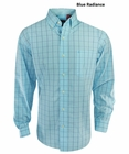 Izod- Long Sleeve Windowpane Plaid Button Up Shirt