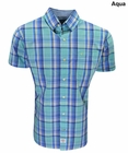 Izod- Short Sleeve Slatwater Medium Plaid Button Up Shirt