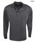 PGA Tour Golf- Long Sleeve Ventilated Striped Polo