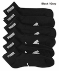 Puma- Mens 6 Pack 1/2 Terry Quarter Cut Socks