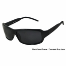 UV3 Golf- Ladies Polarized Sunglasses Sport Frame Black/Gray Lenses 4443A