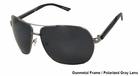 UV3 Golf- Mens Polarized Sunglasses Metal Gunmetal Frame/Gray Lenses 4462A