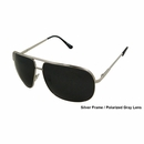 UV3 Golf- Mens Polarized Sunglasses Metal Silver Frame/Gray 4470A