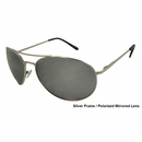 UV3 Golf- Unisex Polarized Sunglasses Metal Silver Frame/Silver Mirrored Lenses 4463A