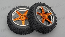 1/10th FRONT Buggy Wheels+Rims 2PCS (Chrome Orange)