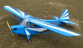 "120"" Extreme Quality Giant Scale Clipped Wing J3 Piper Cub 100CC Nitro Remote Control Airplane Kit (Blue) RC Remote Control Radio"