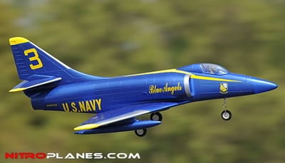 2.4G 4-CH AirField 64mm A4 Ducted Fan RC Jet RTF w/ Brushless Motor, LiPo RTF (Blue Angel) RC Remote Control Radio 93A200-A4-BlueAngel-RTF-24G