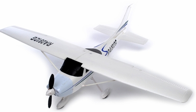 "2.4G 4 Channel AirField RC 55"" Sky Trainer Radio Remote Control Airplane w/ Brushless Motor/ESC/Lipo 100% RTF *Super Scale* EPO Foam Plane (White)"