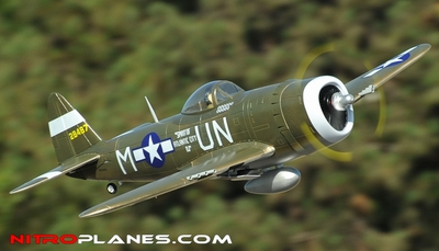 2.4G Extreme Detail 5-CH Version 2 AirField RC P-47 1400MM Warbird Plane w/ Brushless Motor/ESC/Lipo 100% RTF *Super Scale* EPO Foam Plane + Electric Retracts (Green)