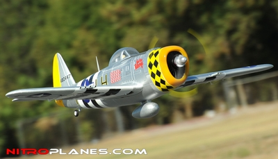 2.4G Extreme Detail 5-CH Version 2 AirField RC P-47 1400MM Warbird Plane w/ Brushless Motor/ESC/Lipo 100% RTF *Super Scale* EPO Foam Plane + Electric Retracts (Silver)