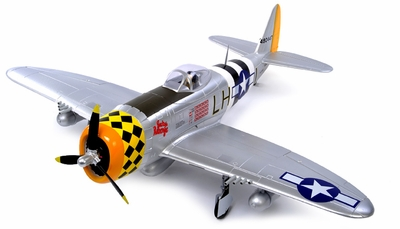 2.4G Extreme Detail 5-Channel AirField RC P-47 1400MM Radio Control Warbird Plane w/ Brushless Motor/ESC/Lipo 100% RTF *Super Scale* EPO Foam Plane + Fix Landing Gear (Silver) RC Remote Control Radio