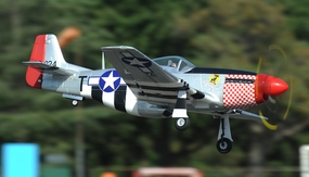 "2.4G Extreme Detail 5-Channel AirField RC P-51 1450MM (57"") Radio Control Warbird Plane w/ Brushless Motor/ESC/Lipo 100% RTF *Super Scale* EPO Foam Plane + Electric Retracts + Retractable Tail Wheel (Silver) RC Remote Control Radio"