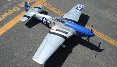 "2.4G Extreme Detail 5-Channel AirField RC P-51 Marie 1450MM (57"") Radio Control Warbird Plane w/ Brushless Motor/ESC ARF *Super Scale* EPO Foam Plane + Electric Retracts + Retractable Tail Wheel (Blue) RC Remote Control Radio"