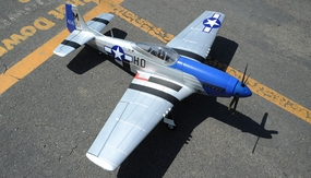 "2.4G Extreme Detail 5-Channel AirField RC P-51 Marie 1450MM (57"") Radio Control Warbird Plane w/ Brushless Motor/ESC ARF *Super Scale* EPO Foam Plane + Electric Retracts + Retractable Tail Wheel (Blue)"