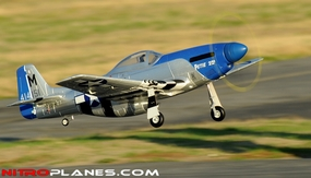 "2.4G Extreme Detail 5-Channel AirField RC P-51 Marie 1450MM (57"") Radio Control Warbird Plane w/ Brushless Motor/ESC/Lipo 100% RTF *Super Scale* EPO Foam Plane + Electric Retracts (Blue) Version 2 RC Remote Control Radio"