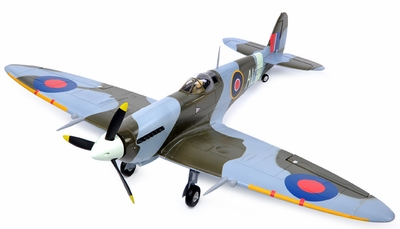 2.4G Extreme Detail 5-Channel AirField RC Spitfire 1400MM Radio Control Warbird Plane w/ Brushless Motor/ESC/Lipo 100% RTF *Super Scale* EPO Foam Plane + Fix Landing Gear (Camo) RC Remote Control Radio