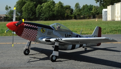 "2.4G Extreme Detail 6-Channel AirField RC P-51 1450MM (57"") Radio Control Warbird Plane  Kit *Super Scale* EPO Foam Plane + Electric Retracts + Retractable Tail Wheel +Flap(Silver)"