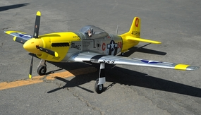 "2.4G Extreme Detail 6-Channel AirField RC P-51 1450MM (57"") Radio Control Warbird Plane w/ Brushless Motor/ESC/Lipo 100% RTF *Super Scale* EPO Foam Plane + Electric Retracts + Retractable Tail Wheel +Flap(Yellow) RC Remote Control Radio"