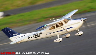 "2.4Ghz 4 Channel AirField RC 55"" Sky Trainer Upgrade Version Airplane w/ Brushless Motor/ESC/Lipo/LED Lights 100% RTF *Super Scale/Detail* EPO Foam Plane (Blue)"