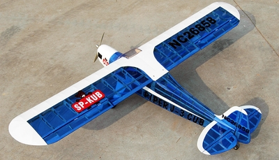 "4CH New J3 Piper Cub .60 - 71"" Nitro Gas Radio Controlled Airplane ARF Kit (Transparent Blue)"