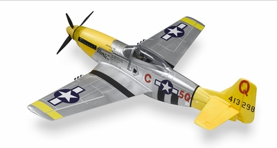 5-Ch P-51 Mustang  RC Warbird Plane Kit Airframe w/ Electric Retracts (Yellow) RC Remote Control Radio