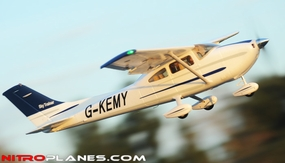 """5 Channel AirField RC 55"""" Sky Trainer Upgrade Version Airplane w/ Brushless Motor/ESC/Flaps/LED Lights  Almost Ready to Fly ARF Receiver Ready *Super Scale/Detail* EPO Foam Plane (Blue)"""