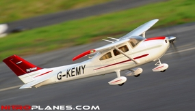 """5 Channel AirField RC 55"""" Sky Trainer Upgrade Version Airplane w/ Brushless Motor/ESC/Flaps/LED Lights  Almost Ready to Fly ARF Receiver Ready *Super Scale/Detail* EPO Foam Plane (Red)"""
