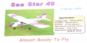 "63"" 4-Channel Sea Star Radio Remote Control Nitro Gas ARF RC Trainer 40 A035-SeaStarTrainer40"