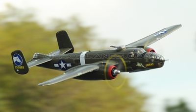 Airfield 1470mm 5 Channel B-25 Bomber Twin Brushless Power Extreme Detail RC Radio Control WarBird Airplane RTF w/ Electric Retract RC Remote Control Radio