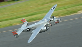 Airfield 1470mm 5 Channel B-25 Bomber Twin Brushless Power Extreme Detail RC Radio Control WarBird Airplane RTF w/ Electric Retract (Silver)