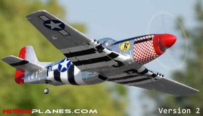 "Airfield 2.4Ghz P-51 1450mm 57"" 5-CH Warbird Brushless RC Plane w/Electric Retracts V2 RTF (Silver)"