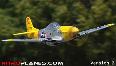 "Airfield 2.4Ghz P-51 1450mm 57"" 5-CH Warbird RC Plane w/Electric Retracts V2 RTF (Yellow)"
