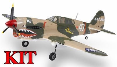 AirField 6-CH 1400mm P40 (Flying Tiger) Radio Control Warbird Plane Kit (No Electronics) w/ 90 Degree Landing Gear RC Remote Control Radio
